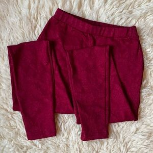 Floral wine leggings with pockets! Sz S